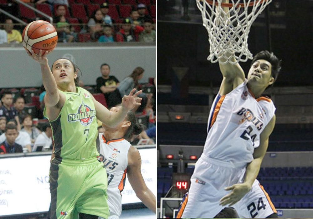Terrence Romeo of GlobalPort and Meralco's Rey Guevarra. | PBA Images