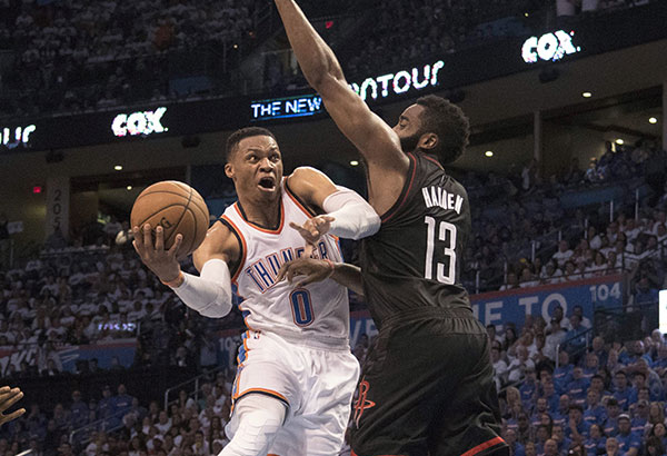 Russell Westbrook has triple-double as Thunder holds off Rockets 115-113