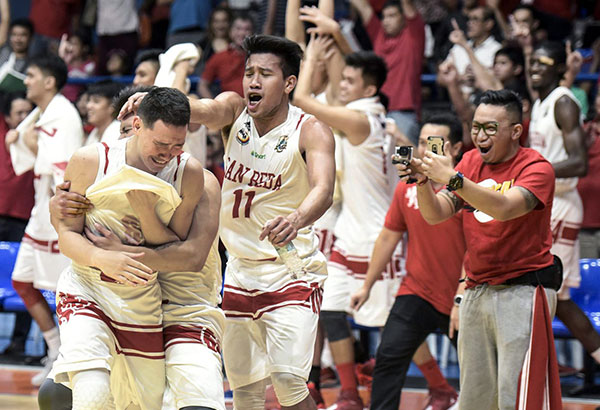 Members of the San Beda Lions whoop it up after beating the La Salle Green Archers for the Premier Cup crown.