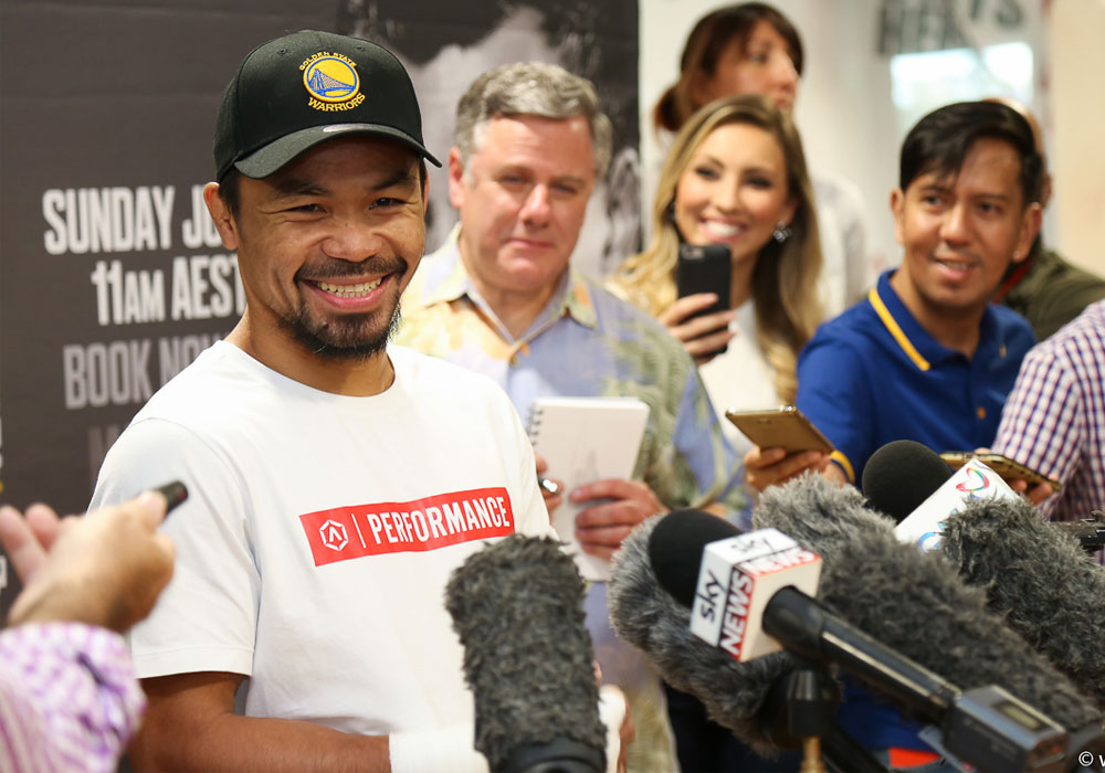 Manny Pacquiao smiles as he talks to the press before a workout at a gym inside Suncorp Stadium in Brisbane, Australia on Tuesday. | Wendell Rupert Alinea