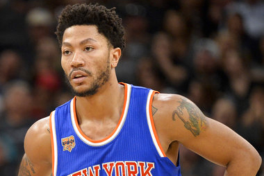 In this March 25, 2017, file photo, New York Knicks' Derrick Rose stands on the court during a free throw attempt in the first half of an NBA basketball game against the San Antonio Spurs, in San Antonio. | AP Photo/Darren Abate, File