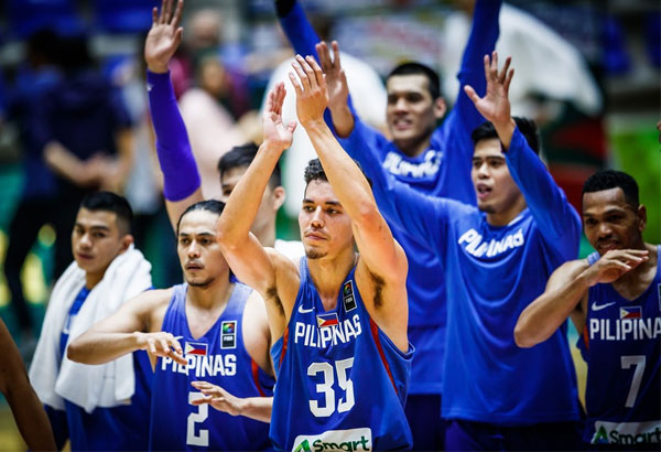 Gilas Pilipinas celebrates after winning over China in the 2017 FIBA Asia Cup in Beirut, Lebanon Wednesday night. FIBA.com
