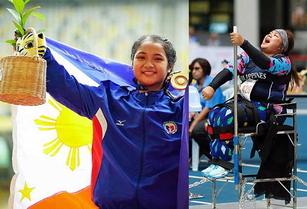 Cielo Honasan proudly shows her gold medal after winning the 200m dash while Cendy Asusano (right photo) reacts after clinching the contingent's first gold in javelin throw.