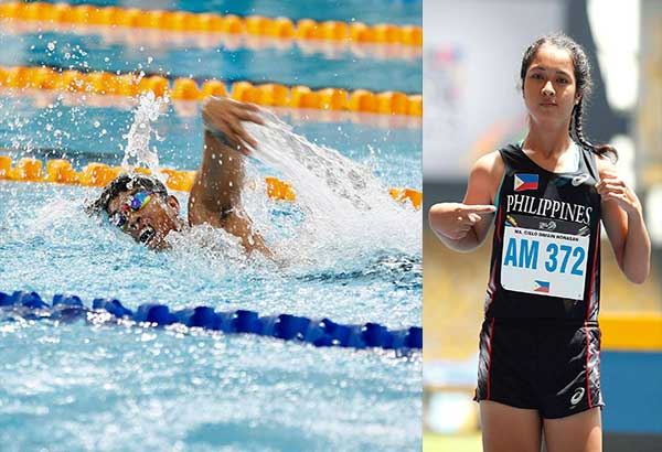 Ernie Gawilan (left) strokes his way to the gold medal in the 400-m freestyle in swimming while Cielo Honasan (right) crowned herself the fastest among differently abled athletes in the KL Para Games. Photos courtesy of Asean Para Games