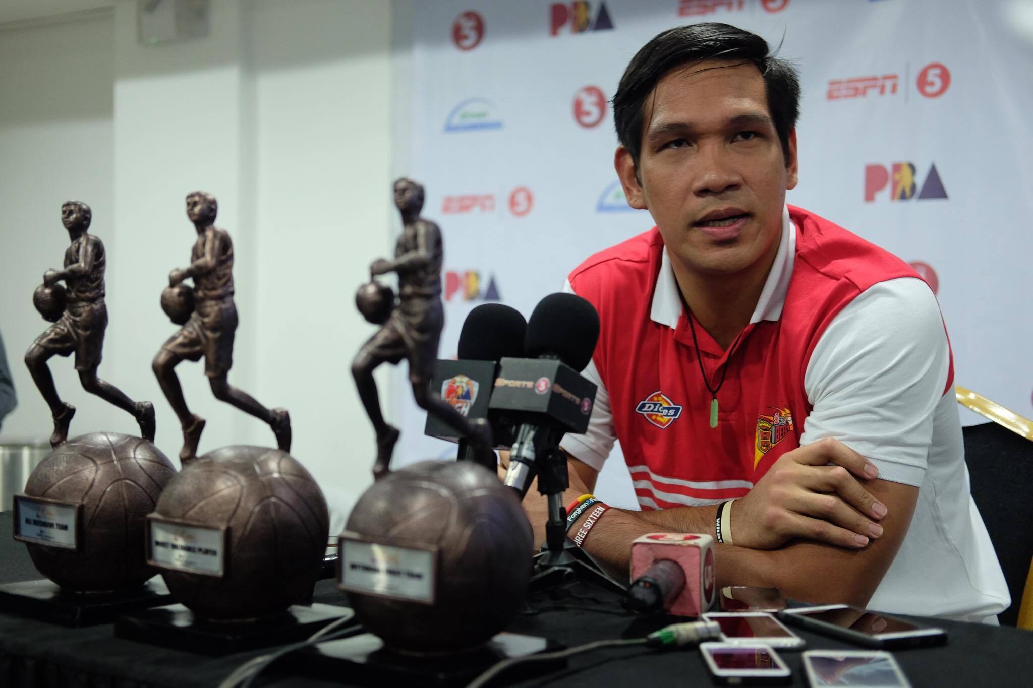 San Miguel Beer's June Mar Fajardo with his Mythical First Team, Defensive Team and Most Valuable Player hardwares he received during the 2017 PBA Leo Awards at the Big Dome, Friday night   Philstar.com/Denison Dalupang