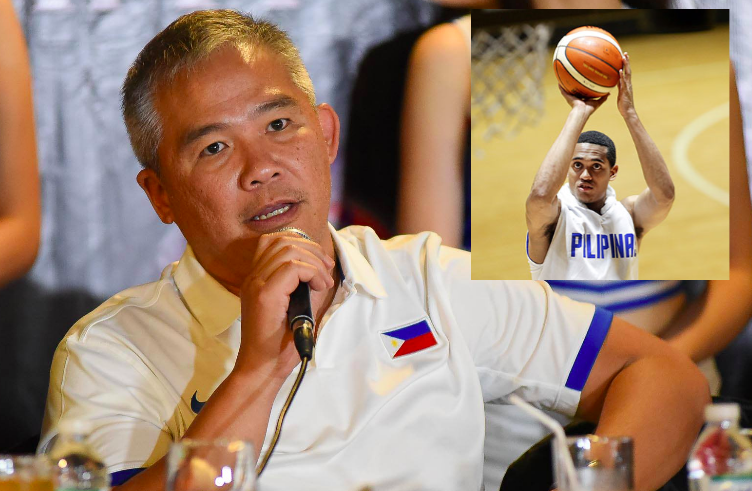 Gilas Pilipinas head coach Chot Reyes during the national team's send-off. Inset: Jordan Clarkson of the Los Angeles Lakers during his visit here in 2015. | Composite Image/Bounty Sports and STAR photos