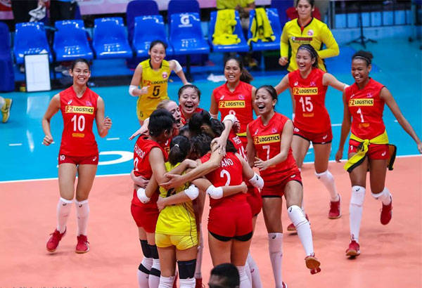 The F2 Cargo Movers celebrate after winning Game 2 of their PSL finals series against Petron. | Photo from PSL's Facebook