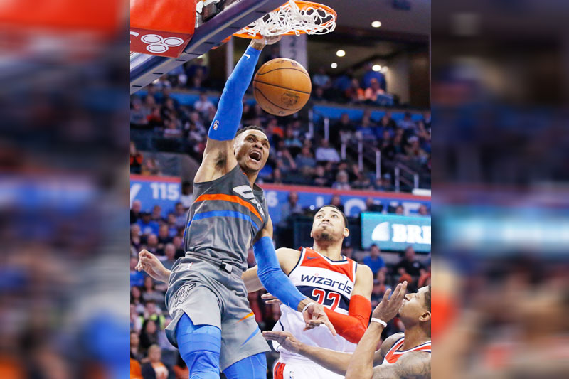 Sixers' Joel Embiid throws down huge dunk on Thunder's Russell Westbrook