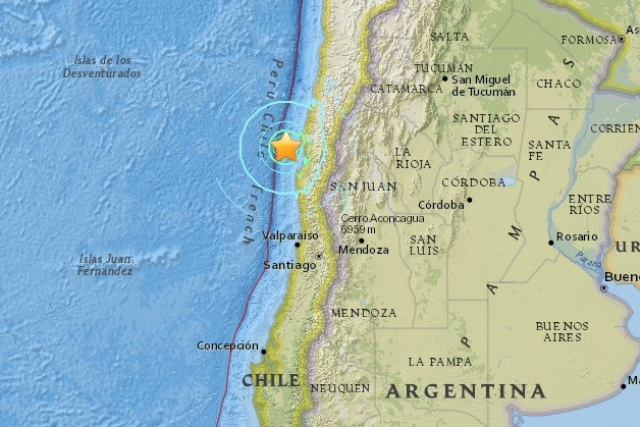 A powerful magnitude 6.9 earthquake struck off centralChile'scoast Tuesday. USGS