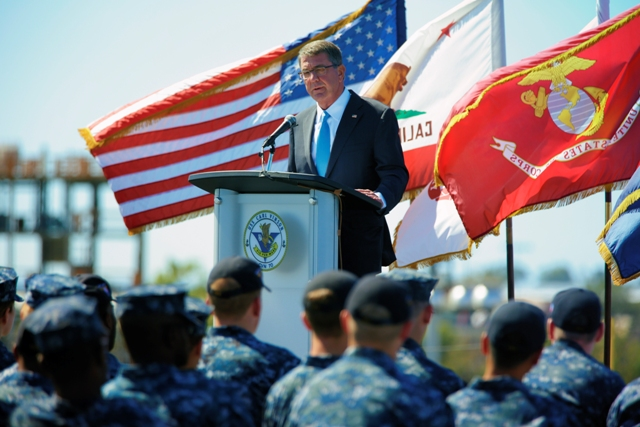 """Secretary of Defense Ash Carter speaks to sailors on the flight deck of the USS Carl Vinson, Thursday, Sept. 29, 2016 at Naval Air Station, North Island in Coronado, Calif. Defense Secretary Ash Carter on Thursday said the US will """"sharpen our military edge"""" in Asia and the Pacific in order to remain a dominant power in a region feeling the effects of China's rising military might. Carter made the pledge in a speech aboard the aircraft carrier USS Carl Vinson in port in San Diego. Nelvin C. Cepeda/The San Diego Union-Tribune via AP"""