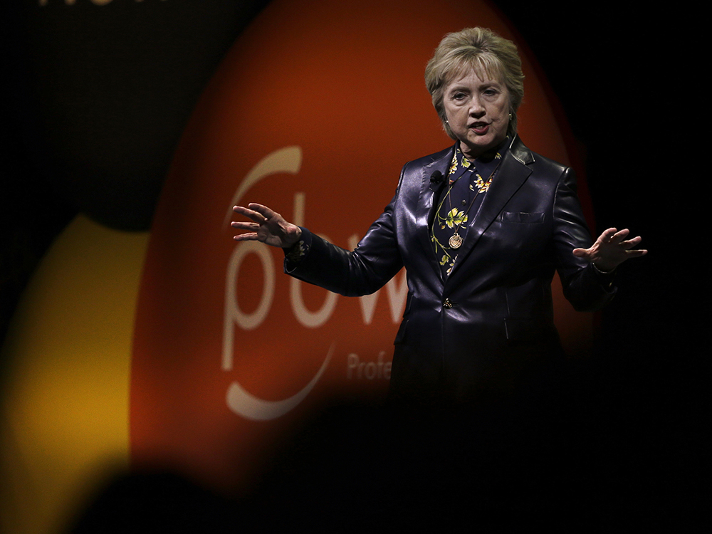 Former Secretary of State Hillary Clinton gestures while speaking before the Professional Businesswomen of California Tuesday, March 28, 2017, in San Francisco. Clinton is in San Francisco for one of her first public speeches since losing the 2016 presidential race. AP/Ben Margot