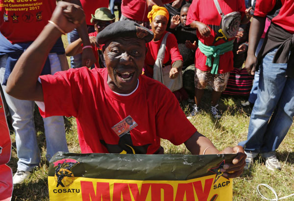 South African president jeered at May Day rally