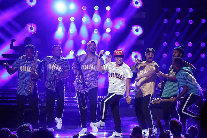 "Bruno Mars performs ""Perm"" at the BET Awards at the Microsoft Theater on Sunday, June 25, 2017, in Los Angeles. Photo by Matt Sayles/Invision/AP"