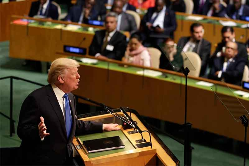 United States President Donald Trump speaks during the United Nations General Assembly at U.N. headquarters, Tuesday, Sept. 19, 2017. AP/Seth Wenig