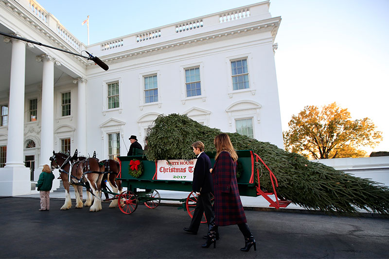 First lady Melania Trump and her son Barron Trump, look at the Wisconsin-grown Christmas Tree at the North Portico of the White House in Washington, Monday, Nov. 20, 2017. The tree will be displayed in the White House Blue Room. AP/Manuel Balce Ceneta