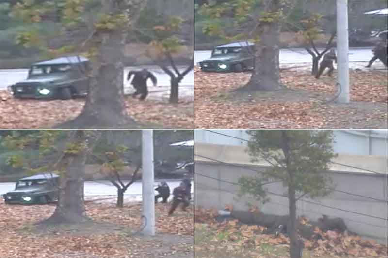 This combination of images made from Nov. 13, 2017, surveillance video released by the United Nations Command shows a North Korean soldier running from a jeep and then shot by North Korean soldiers in Panmunjom, North Korea, before collapsing across the border in South Korea. A North Korean soldier made a desperate dash to freedom in a jeep and then on foot, being shot at least five times as he limped across the border and was rescued by South Korean soldiers, according to dramatic video released by the U.S.-led U.N. command Wednesday, Nov. 22, 2017. United Nations Command via AP