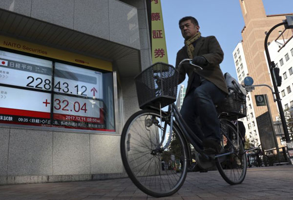 A man cycles past in front of an electronic stock indicator of a securities firm in Tokyo, Monday, Dec. 11, 2017. Share prices were higher in Asia early Monday, lifted by encouraging employment data from the U.S. that lifted the Standard & Poor's 500 index to its third straight weekly gain on Friday despite weakness earlier in the week. (AP Photo/Shizuo Kambayashi)
