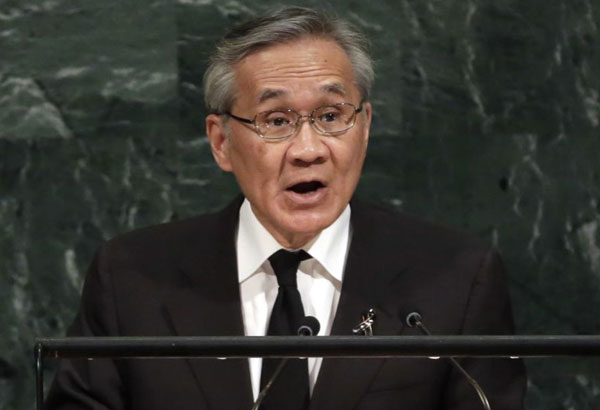FILE - IN this Friday, Sept. 22, 2017, file photo, Foreign Minister Don Pramudwinai of Thailand addresses the United Nations General Assembly, at U.N. headquarters. On behalf of the Thailand's military junta on Tuesday, Foreign Minister Don welcomed the European Union's decision to ease political sanctions imposed against it for overthrowing an elected government in 2014. (AP Photo/Richard Drew, FIle)
