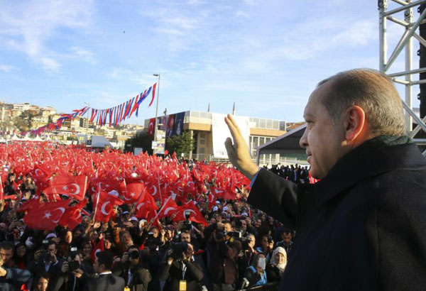 "Turkey's President Recep Tayyip Erdogan, waves to supporters during a rally in Istanbul, Friday, Dec. 15, 2017. Erdogan said Muslim nations will ask the United Nations for an ""annulment"" of U.S. President Donald Trump's controversial decision to recognise Jerusalem as Israel's capital. Turkey has been one of the most vocal critics of Trump's Dec. 6 decision on recognising Jerusalem. (Kayhan Ozer/Pool Photo via AP)"