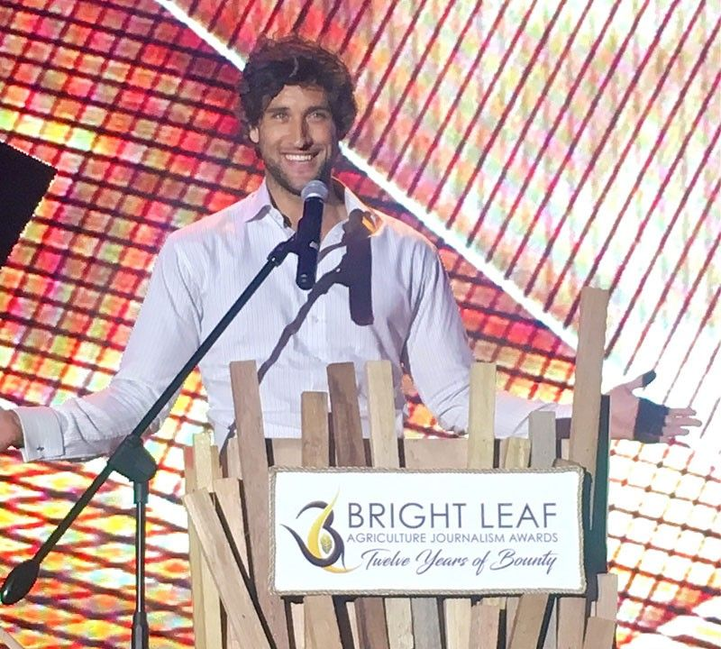 Farmer, model and celebrity Nico Bolzico delivers his keynote speech at the Bright Leaf Agriculture Journalism Awards night.