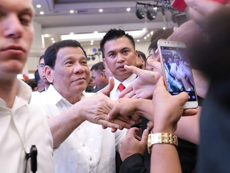 President Rodrigo Roa Duterte interacts with the Filipinos based in Israel as he met with them at the Ramada Hotel in Jerusalem on Sept. 2, 2018.