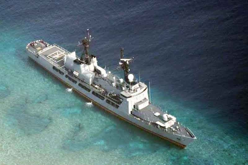 Navy flagship BRP Gregorio del Pilar runs aground near shoal