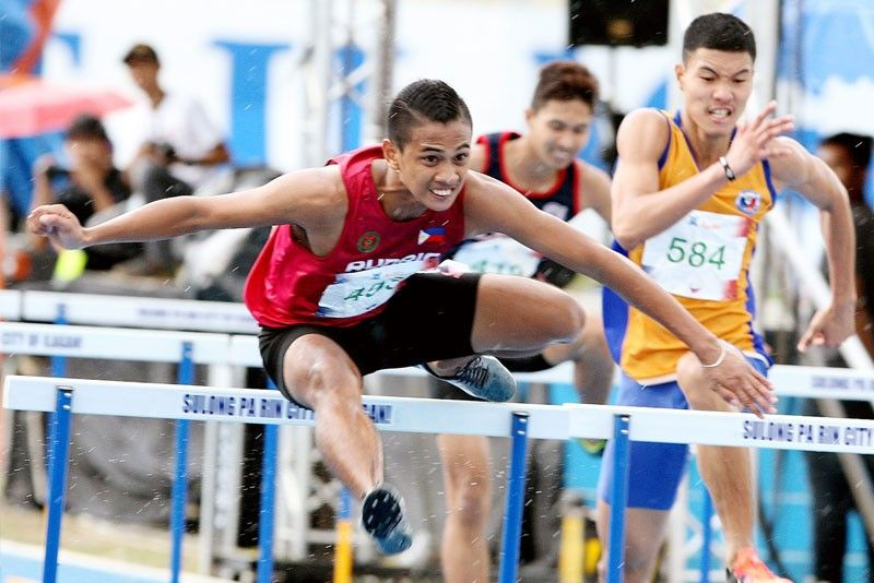 fcfdfa2aa09 Marjun Sulieza of Team Run Rio-UP dominates the 110m boys  hurdles in the  Ayala Philippine Athletics Championships in Ilagan