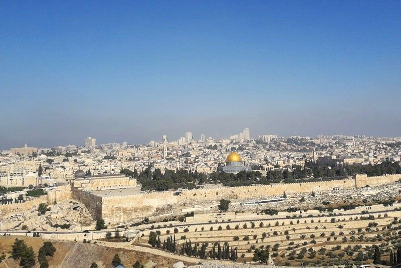 View of Jerusalem from the Mount of Olives, gazing at Temple Mount and the golden Dome of the Rock.