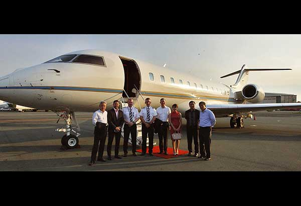 In photo during the launch of Pacific Global One's chartered flights are (from left) Atsuhisa Shirai, Victor Aliwalas, Capt. Ross Doyle, Capt. Paul Milar, Jay Lagdameo, Rizza Latorre, Arnold Picar and Rene Meily. Jesse Bustos