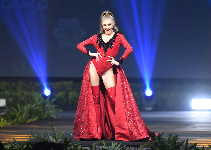 2bccff5c3fd4 Albania: featuring flag colors red and black, designed by the contestant  herself. (AFP)