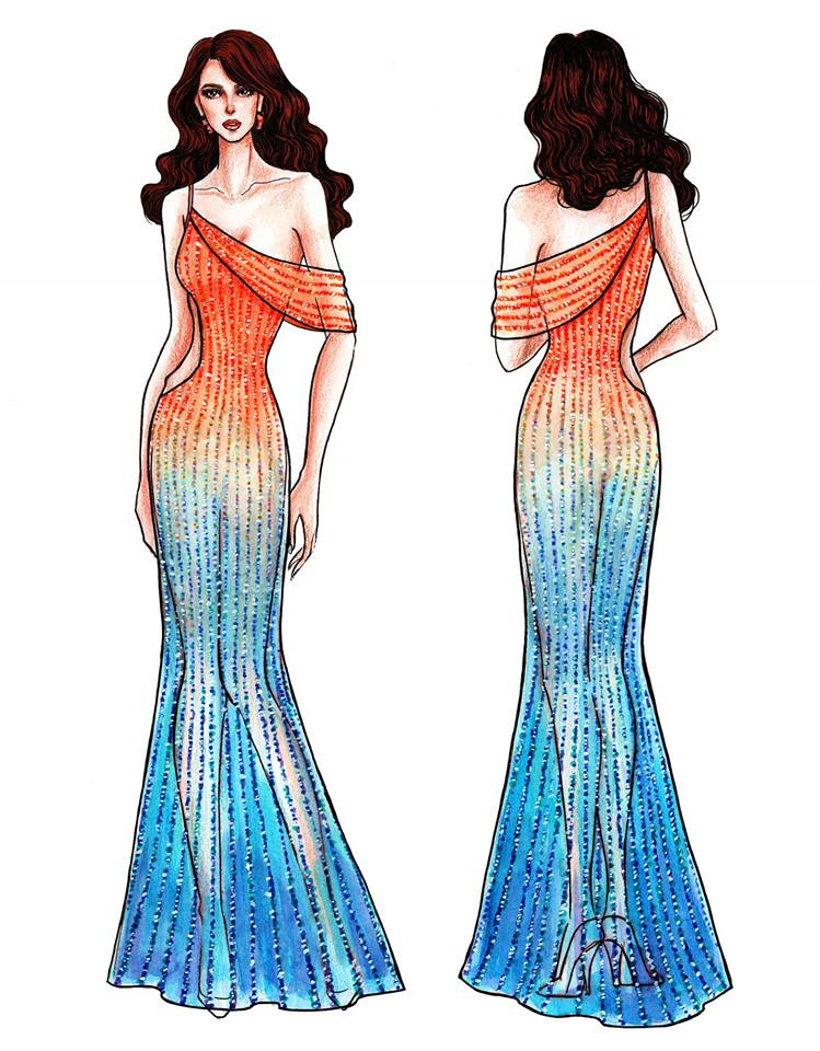 LOOK Sketches Of Catriona Grayu2019s Possible Miss Universe Evening Gown | Philstar.com