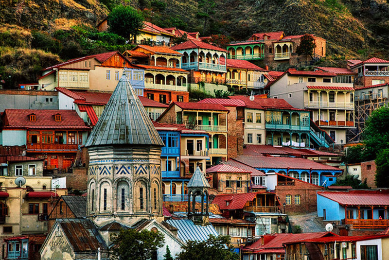 Old Town T'bilisi and the multi leveled houses