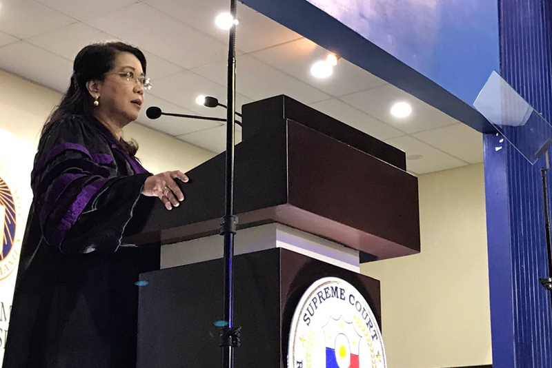 Chief Justice Maria Lourdes Sereno speaks to students at the commencement exercise at Ateneo de Manila University in Quezon City on Friday, May 26, 2017. SC PIO/Released