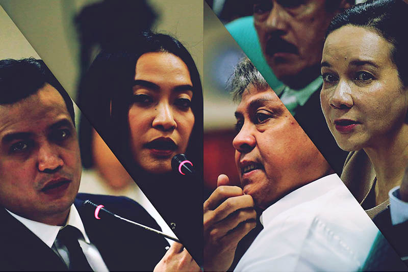 Sen. Sonny Trillanes, PCOO Assistant Secretary Mocha Uson, Sen. Kiko Pangilinan and Sen. Grace Poe at the Senate probe into the proliferation of fake news on Wednesday, Oct. 4, 2017. Original photos by Senate PRIB