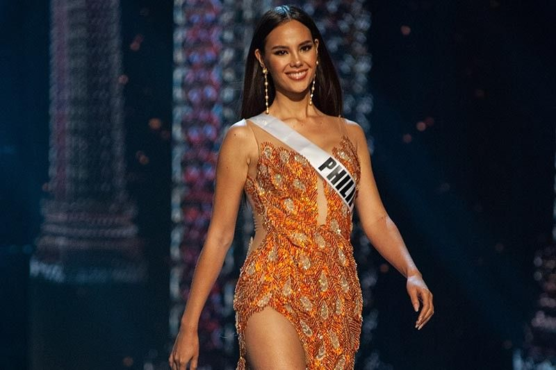 edcea1fb896e Catriona Gray, Miss Universe Philippines 2018 competes on stage in her  evening gown during the MISS UNIVERSE® Preliminary Competition at IMPACT  Arena in ...