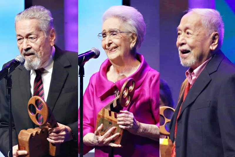 SENIOR MOMENT: From left, Eddie Garcia, lead actor in the movie �Rainbow�s Sunset,� receives a special jury prize; Gloria Romero was named Best Actress, and Tony Mabesa was named Best Supporting Actor during the 2018 Metro Manila Film Festival Gabi ng Parangal at The Theater at Solaire in Parañaque the other night.