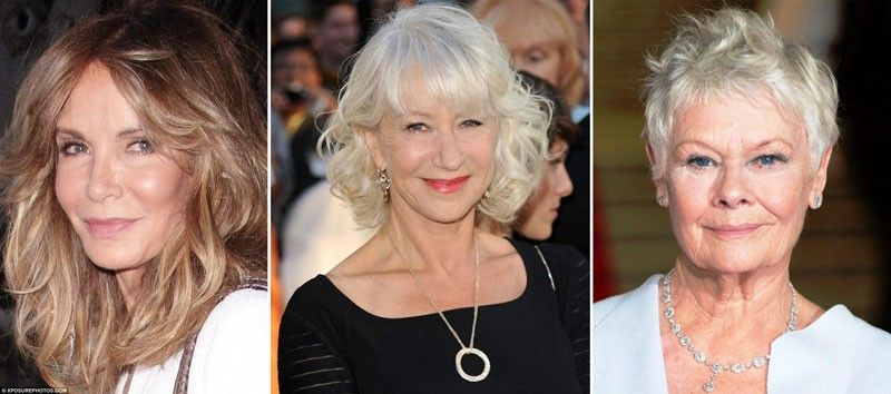 Jacqueline Smith(left) looks more youthful than most women decades younger.  Helen Mirren(center) always dresses with confidence and is not afraid of her age but embraces it. Dame Judi Dench's(right) age is a badge of confidence and courage.