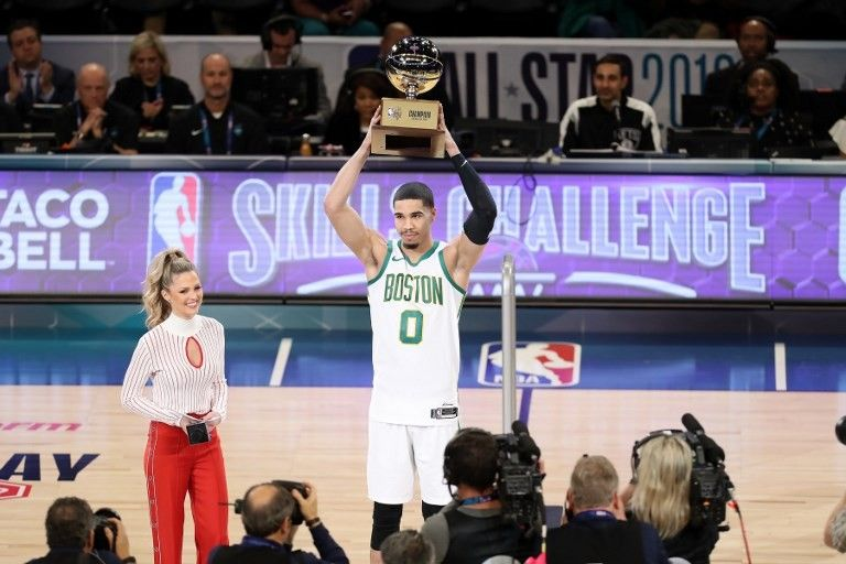 Jayson Tatum of the Boston Celtics holds the 2019 Taco Bell Skills Challenge trophy during the 2019 Taco Bell Skills Challenge as part of the State Farm All-Star Saturday Night on February 16, 2019 (February 17, 2019 Manila Time) at the Spectrum Center in Charlotte, North Carolina.