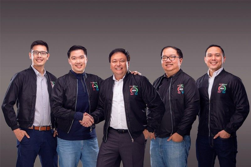 The men behind 'Omega.' (From left: Miko Cuartero, team manager of SGD; Glenn Kendrick Lim, gaming director for SGD; Andrew L. Santos, first vice president and consumer marketing head for PLDT and Smart; Thomas Ting of PLDT Product; JC Ramos of Smart Brand Marketing.