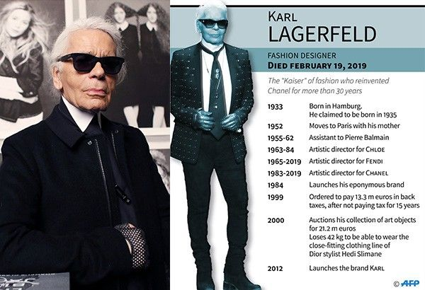 "Left: In this file photo taken on November 8, 2012 Chanel's creative director Karl Lagerfeld poses before the opening of his photo exhibition entitled ""Little Black Jacket"" at the Grand Palais in Paris. German fashion designer Karl Lagerfeld has died at the age of 85, it was announced on February 19, 2019."