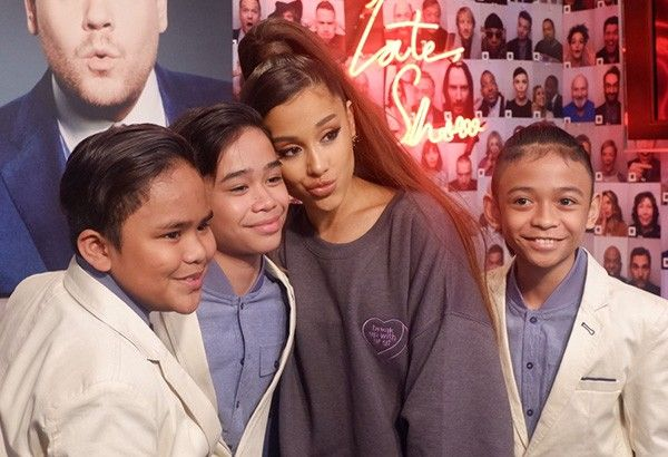 Ariana Grande with the TNT Boys at the backstage of �The Late Late Show with James Corden.�