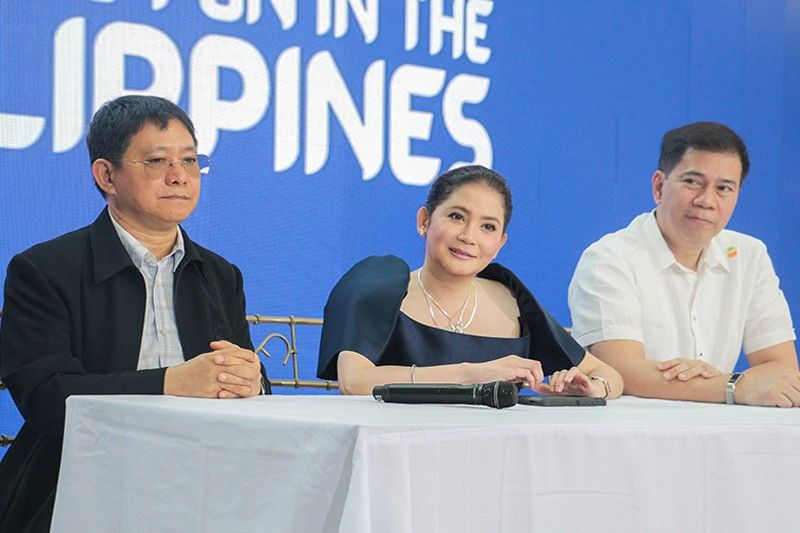 In this Feb. 18, 2019 photo, DILG Secretary Eduardo Año, DOT Secretary Bernadette Romulo-Puyat and DOT Undersecretary Bong Bengzon address the questions of the press.