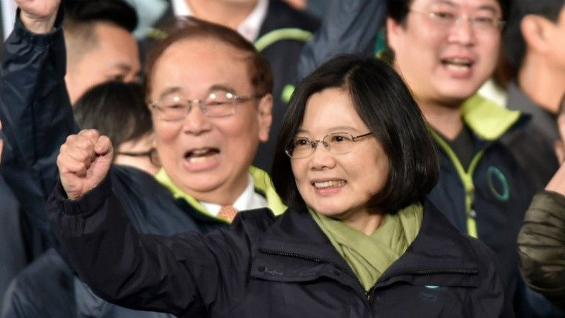 Tsai Ing-wen celebrates her election victory in Taipei in 2016.