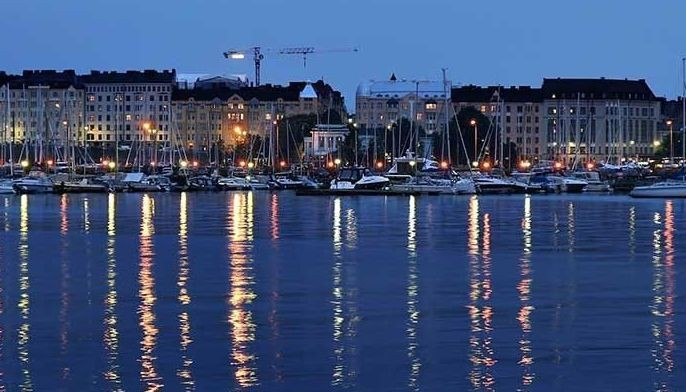 This photo shows Helsinki, Finland during night.