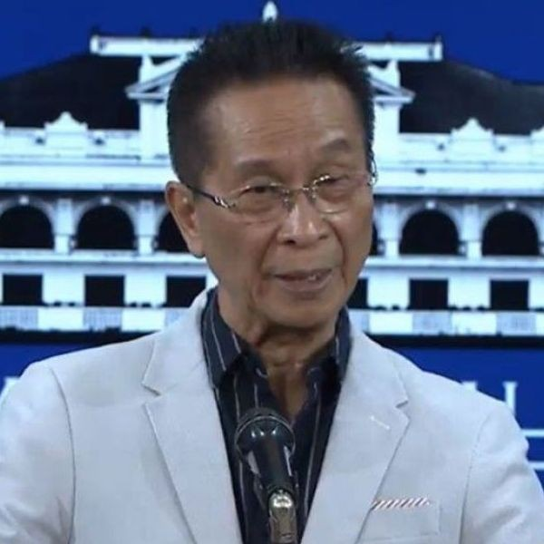 Presidential spokesperson Salvador Panelo holds a press briefing for the Malacañang Press Corps at the New Executive Building in Malacañang on March 25, 2019.