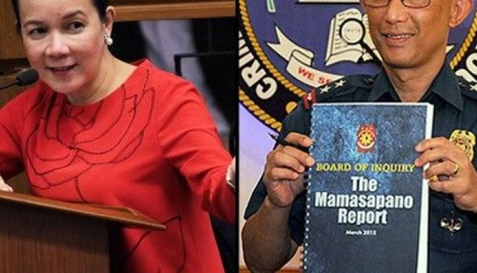 This composite image shows Sen. Grace Poe and Philippine National Police Board of Inquiry head Chief Superintendent Benjamin Magalong in 2015.