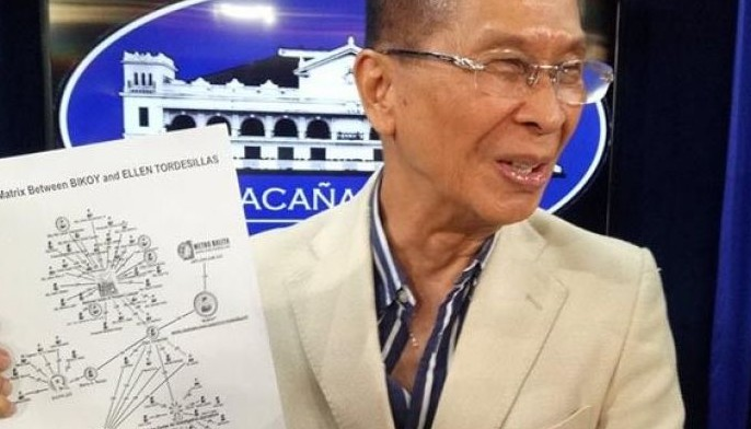 In this photo, presidential spokesperon Salvador Panelo holds up supposed proof of journalists and pro bono lawyers conspiring against President Rodrigo Duterte.