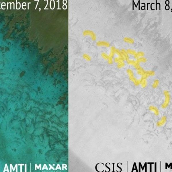 Satelite imagery from December 2018 and March 2019 show new scarring in Scarborough Shoal brought about by clam harvesting activities of Chinese boats.