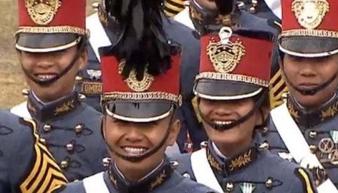At the 02:51 mark of a video of the ceremony that runs around 03:21 hours long, cadets laugh as the president jokes that their junior cadets committed rape.