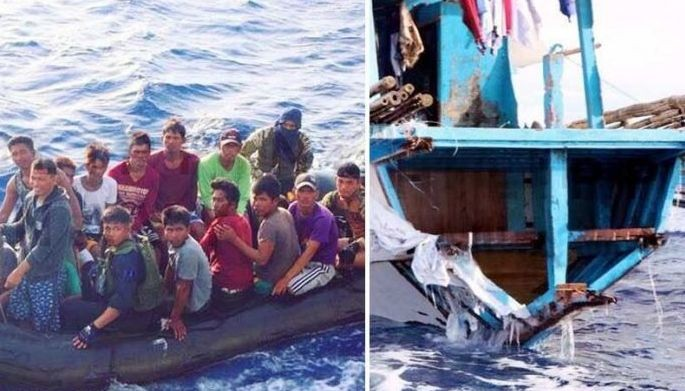 Navy photo shows the first batch of Filipino fishermen rescued in the waters off Recto Bank after their fishing boat was hit by a Chinese vessel. Right shows the damaged stern of the F/B Gemvir1.